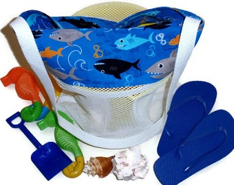 Mesh Sand Toy Bag, Beach or Pool Tote, Kids Shark Bag, Shark Theme Birthday Party, Beach Party, Toy Gift Bag, Gift For Boys
