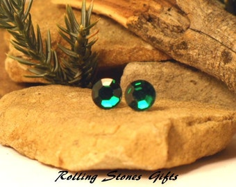 Emerald Swarovski 7.27mm Flat back Rhinestone Stud Earrings-Emerald Crystal Studs-May Birthstone Studs-Flat Back Green Crystal Studs