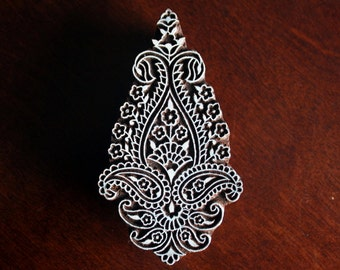 Indian Wood Block Stamp, Tjaps, Hand Carved stamp, Pottery stamp, Textile Stamp- Paisley/Floral Motif