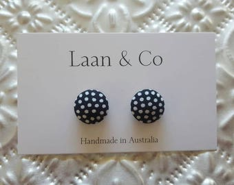 15mm Black and White Polka Dot Button Earrings