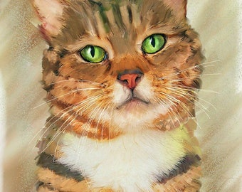 Cat Portrait | Dog Portrait | Custom Pet Portrait Painting Art | Pet Painting | Pet Digital Art | Dog Painting