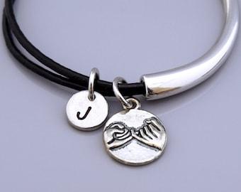 Pinky Promise charm bracelet, pinky swear, best friend bracelet, best friend bangle, Leather bracelet, Leather bangle, Personalized bracelet