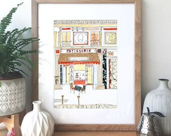 French Patisserie - Ink, watercolour and collage illustration