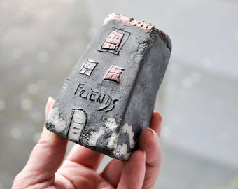FRIENDS Handmade Black Raku pottry  fired Ceramic houses with  copper glazes, Hand sculpted and raku or earthenware fired