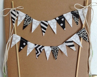 Custom cake topper, Black White Bunting, Double strand of party pennants, retirement cake top, Cake smash boy banner, wedding cake top