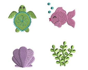 Mini Sea (sea turtle, seashell, seaweed, fish) Machine Embroidery Design Set-INSTANT DOWNLOAD
