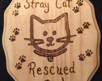 Stray Cat Rescue Plaque, Cat Rescue Plaque