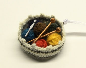 Knitting Basket Christmas Ornament--Yarn, Needles and Hook in Basket--Knitting Love  KB 029