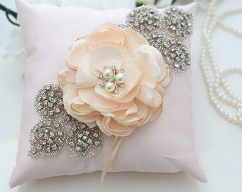 Pink Wedding Ring Pillow, Ring Bearer Pillow, Wedding Pillow, Wedding Ring Pillow, Ring Bearer, Satin Lace Ring Pillow, Ring Cushion