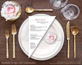 Triangle Menu Cards Printed • Modern Menu Cards • Wedding Menu Card • Reception Menu Card • Menu Template • Printable Menu Cards
