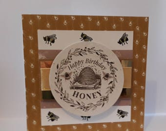 Happy Birthday Honey Card, Bumble bees, honey, gift, bee hive