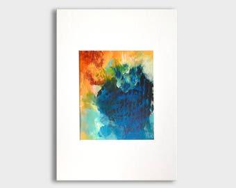 Originele abstract schilderij op papier met passe-partout, abstracte kunst, originele kunst, acryl artwork, blauwe aqua oranje, gematteerd, muur opknoping