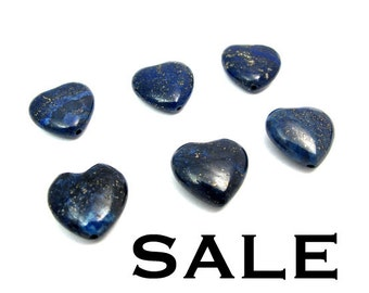 Lapis / Pyrite Heart Beads (6X) (NS587) SALE - 50% off