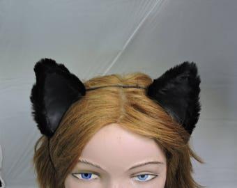 COSPLAY CAT EARS furry wolf fox costume black