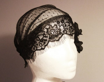 Vintage Inspired Black Lace Cap Swiss Dots Lace Netting Polka Dot Tulle - 20s Inspired Bridal Hat Art Deco Flapper Girl Cap