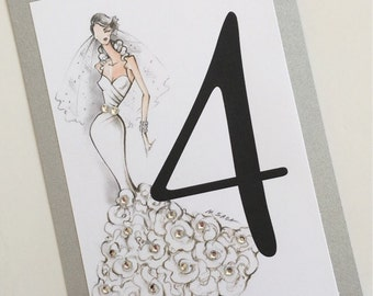 Sassy Bride Bridal Shower Table Numbers