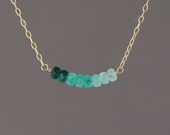 Small Real Green Emerald Stone Beaded Necklace Gold or Silver
