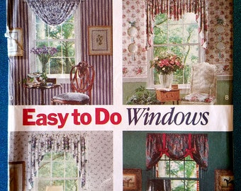 Easy To Do Windows - Valances and Curtains sewing pattern - Butterick 5349 - Factory Folds - 1991 - home decorating - window treatments