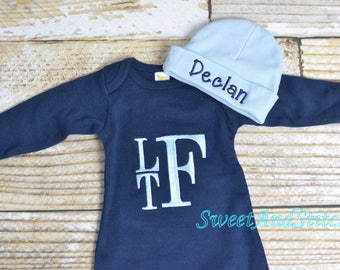 Baby boy monogrammed gown navy, baby boy take home outfit, monogrammed newborn gown, hospital hat - Baby boy layette, baby shower gift