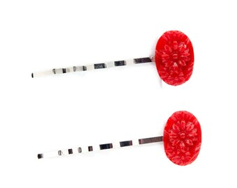 Set Of Red Flower Silver Bobby Pins