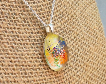 Hand painted resin pendant - abstract dots - oval shaped
