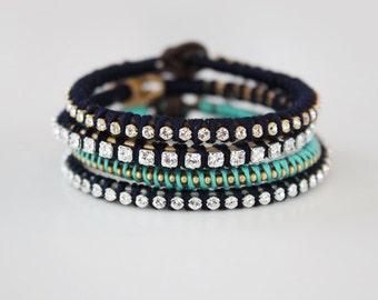 Rhinestone and Leather Bracelet - Stacking Friendship Bracelet
