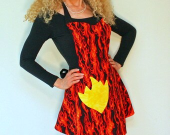 Womens Apron, Orange Flames Womens Apron