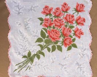 Vintage Handkerchief, Vintage 60s' Hankie, Cotton Handkerchief, Floral, PRETTY Colorful Floral, Roses,  Pink, WHite, Retro 50's Style