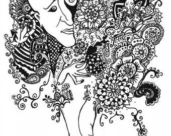 Erotic Art Digital Download Printable - Psychedelic art, Black And White art, Erotic art, Psychedelic poster, nude art, erotic nudity art,