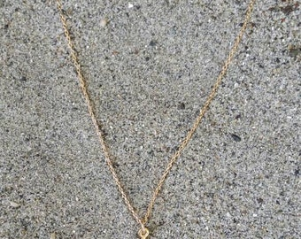 Tiny Gold Dragonfly Necklace, Dainty Gold Necklace, Matte Gold, Vermeil, Small, Nature