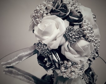 Bejewelled wedding bouquet
