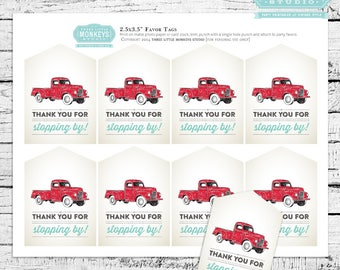 Red Truck Birthday or Baby Shower Sprinkle Favor Tags - INSTANT DOWNLOAD