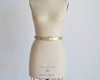 Gold Silver Leather Chain Belt · 1980s Chain Belt · 80s Gold Chain Belt · 80s Silver Chain Belt · Gold Leather Belt · Silver Leather Belt S