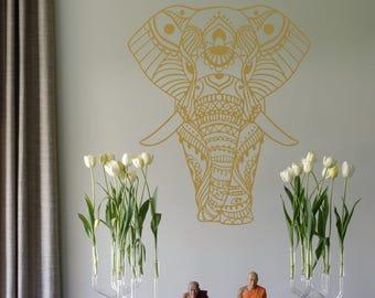 Elephant Manda Wall Decal, Vinyl Decal, Yoga Wall Art, Wall Art Ideas, Mirror Decal, Boho Vinyl Decal, Wall Decor, Indian Ornament #040