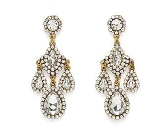 Eternal Fire Crystal Gold Vintage Chandelier Earrings, Vintage Chandelier Earrings, Bridesmaid Earrings, Wedding Earrings, Bridal Earrings