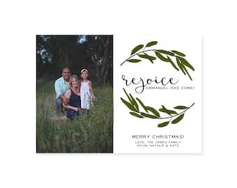 Single/Double Sided Custom Photo Christmas Card- Rejoice, Emmanuel Has Come Religious/Spiritual
