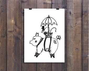 Animal Art, Illustration, Nursery Art, Children's Room Art, Pig Art, Pen and Ink Art, Ink Art, Mouse Art, Black and White Art, Pen Art, 4x6
