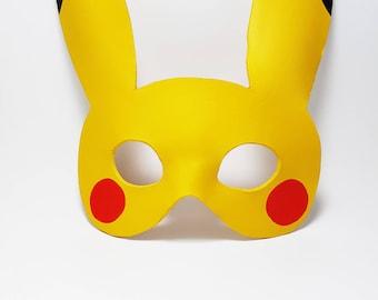 Leather Pikachu mask / Pokemon mask / Cosplay mask