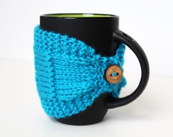 Coffee Cozy - Knitted Mug Cozy - Turquoise Cozy - Coffee Cup Cozy - Coffee Lover Gift - Tea Mug Cozy - Mug Jacket - Light Blue Mug Sleeve