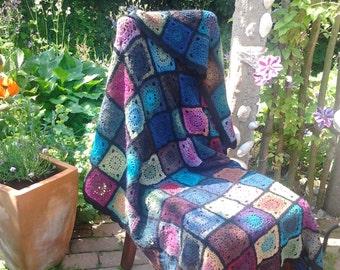 Granny square crochet blanket Bohemia
