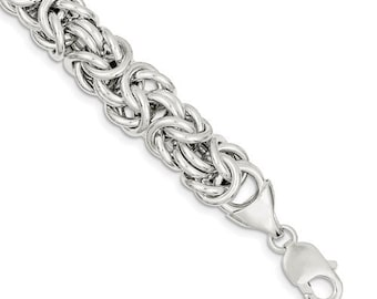 Sterling Silver 13mm Fancy Byzantine Link Bracelet Chain 8 inches