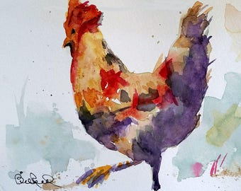 "Abstract Rooster - 8"" x 10"" print of my original watercolor painting"