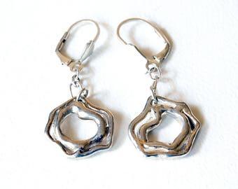 Modern Silver Orb Drop Earrings  Abstract Silver Earrings   Everyday Sterling Silver Dangle Earrings
