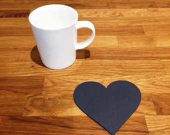 Heart Shaped Graphite Grey Matt Finish Acrylic Coasters