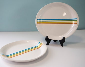Syracuse China, Spectrum, Rainbow, Oval Plate, Platter, Red, Yellow, Green, Blue