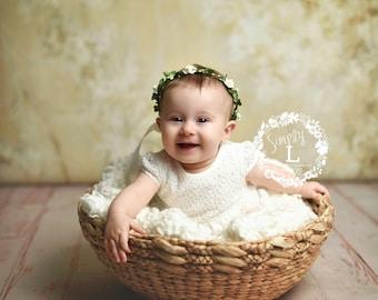White Flower Girl Crown Flower Crown, First Communion Baby Hair Accessories Hair Wreath, Ivory Flower Headband, Ivory Flower Crown Leaf Halo
