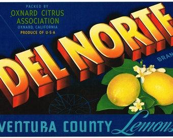 Original vintage lemon crate label 1940s Del Norte Oxnard Ventura County California Scarce