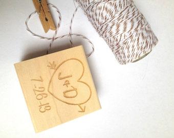 "Custom heart and arrow stamp. 1.5""x1.5"" DIY  Wedding Decor // Craft Supplies// Anniversary Gift"