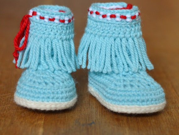 Baby Moccasin Booties Crochet Pattern Fringe Moccasins 3 Sizes