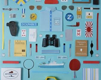 The Life Aquatic with Steve Zissou Poster, original artwork by Jordan Bolton